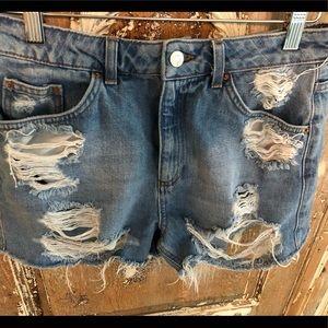Topshop Moto Mom Ripped Shorts